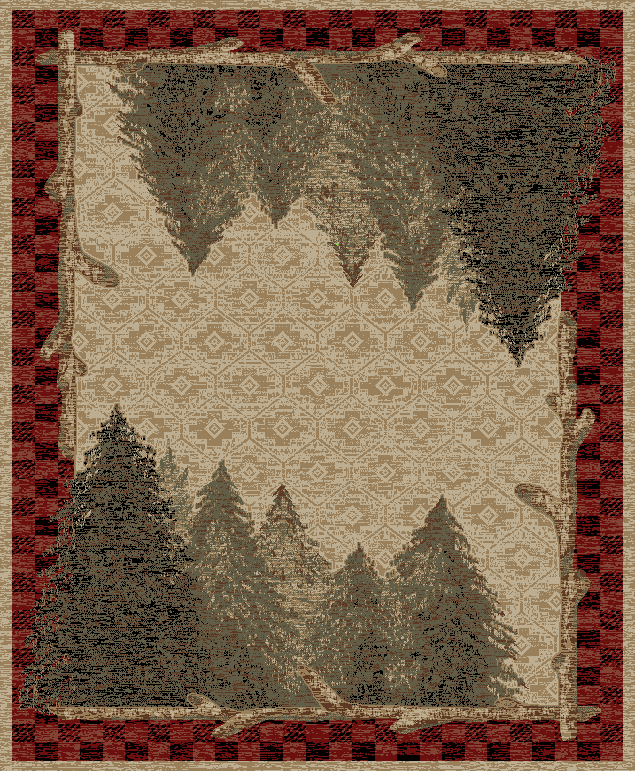 natural color rug depicting pine tree forest with twigs and plaid border