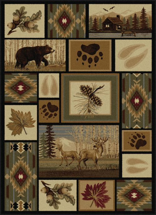 forest collage of bear, deer, a log cabin and leaves on neutral rug