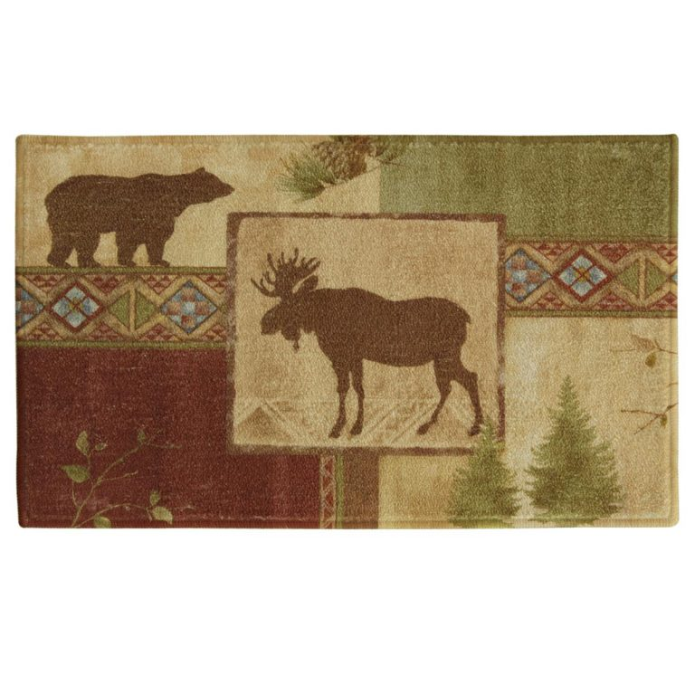 rug featuring a moose, bear and pines