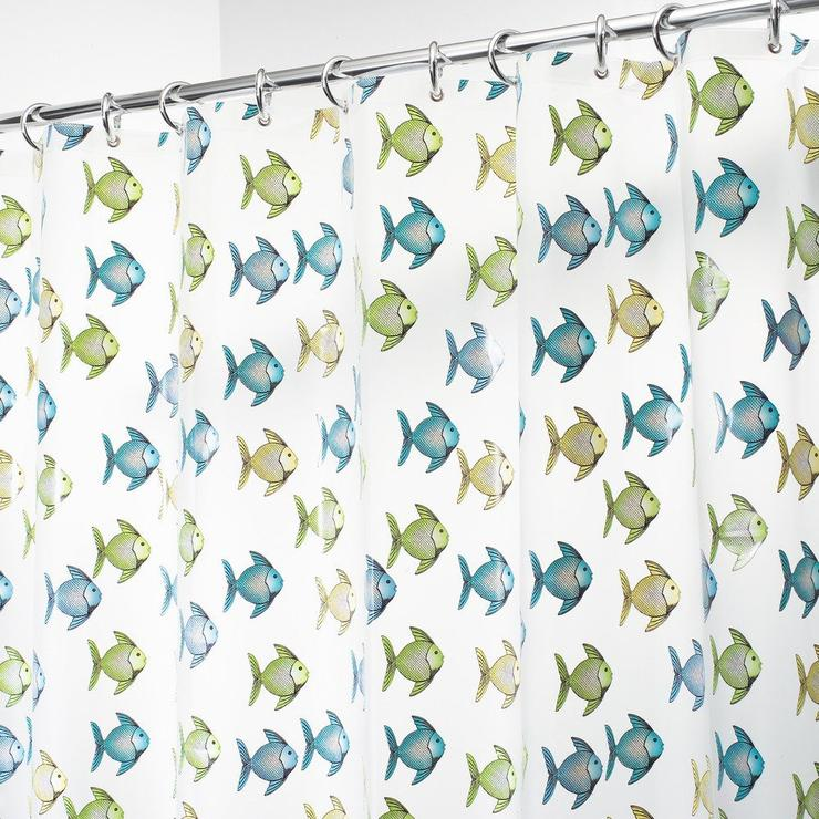 blue, yellow and green fish swimming over a 100% Peva frosted shower curtain