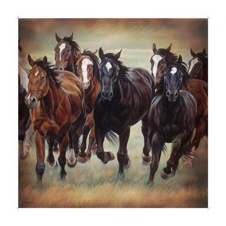 shower curtain picturing wild horses galloping across the plains