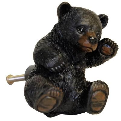 Black bear drawer pull for cabin furniture
