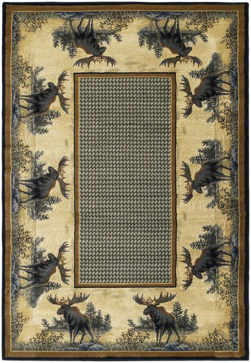 rug with checkerboard type center, surrounded by a bull moose border