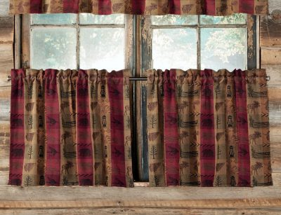 High Country tier curtains with moose