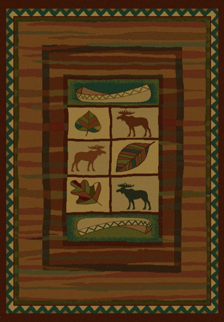 rug with outdoor motifs like canoes, falling leaves and moose
