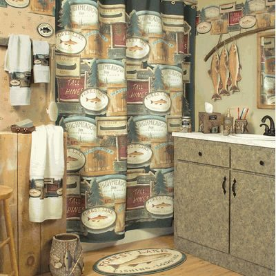 Rustic bathroom with fish decor