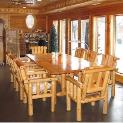Log home furniture in a dining area