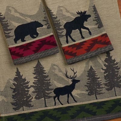 Pretty kitchen towels with wildlife pictures, part of kitchen décor in log home