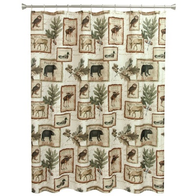 shower curtain with bear, moose, deer, ducks, owls on a light background with sprigs of oak leaves and acorns