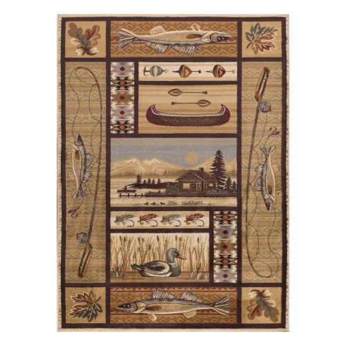 neutral colored rug with log cabin by a lake, fishing equipment, lures, a boat and fish