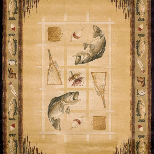 beige fishing rug with cattails, fish and an assortment of fishing items.
