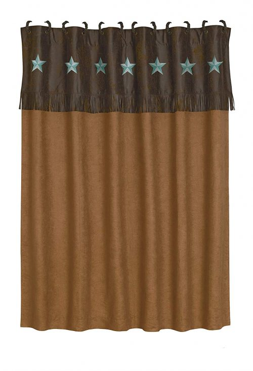 Embroidered turquoise stars on chocolate fringe trim with tan shower curtain