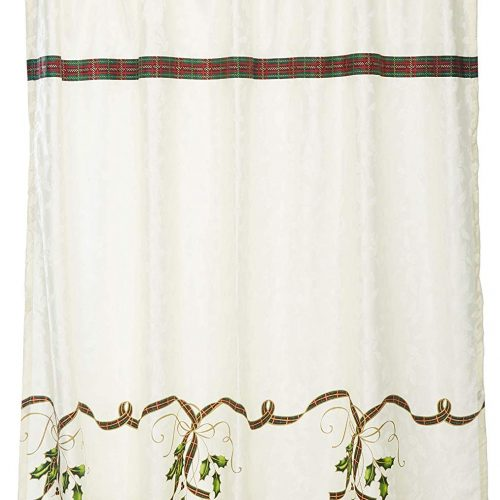 shower curtain with classic lenox burgundy and green plaid on an embossed white background