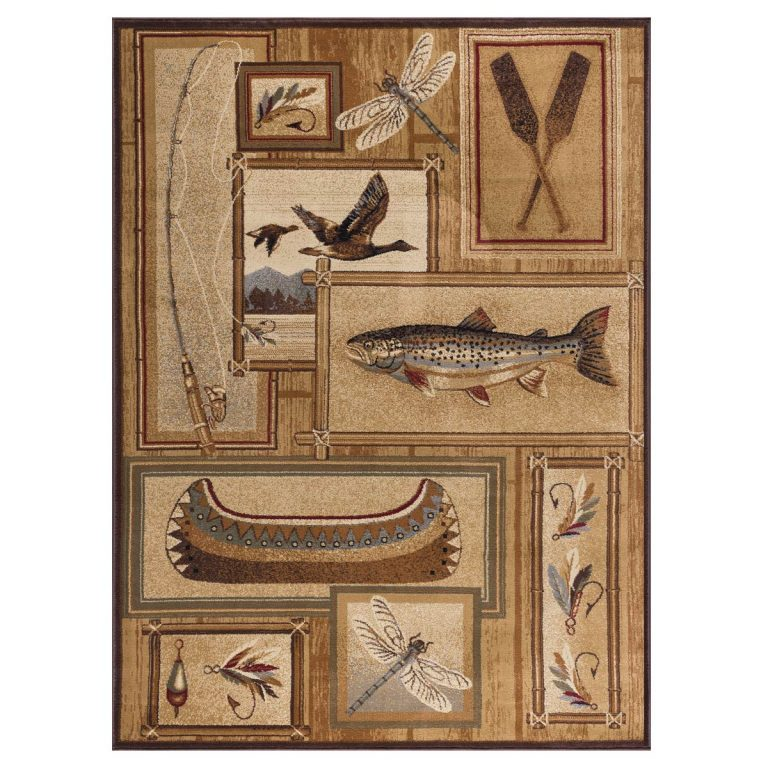 rug features nature scenes of life on the lake or river with fish, ducks, dragonflies, a canoe, oars, fishing rod and reel, and flies.