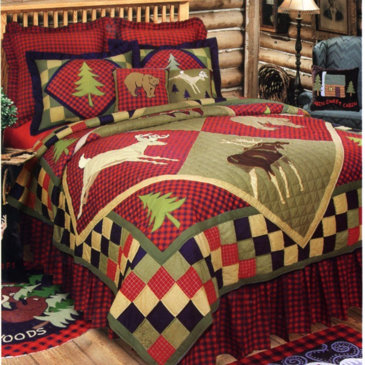 Lodge quilt with bear, moose, deer and pine trees
