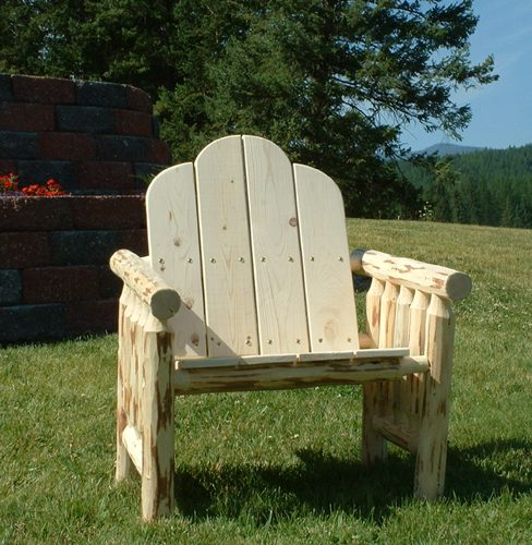 Pine log deck chair