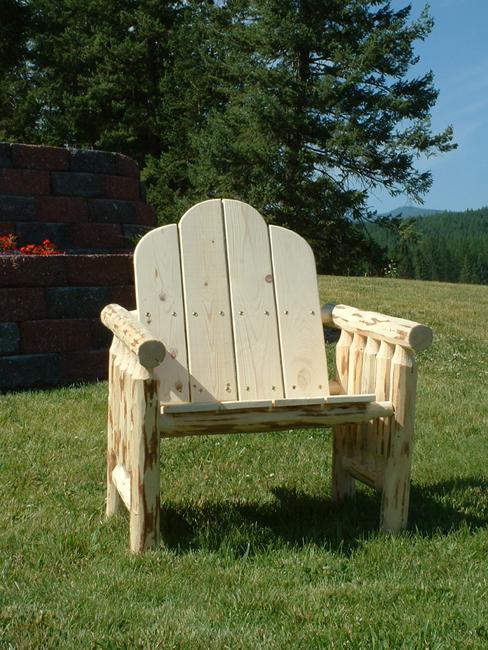 Pine log deck chair