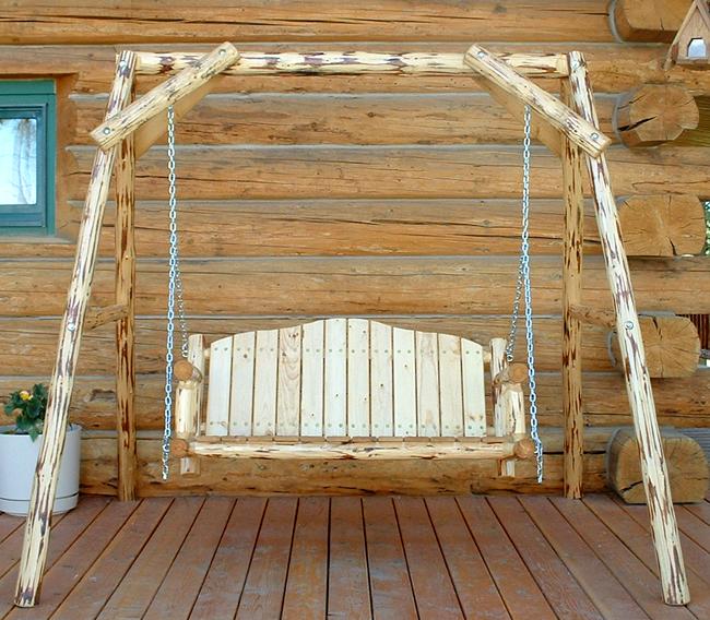 unfinished log swing