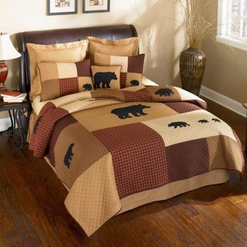 Donna Sharp Logan Bear quilt set on bed