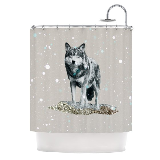 realistic image of a lone wolf on shower curtain