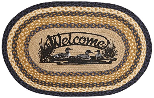 braided jute rug with three loons in a bed of reeds