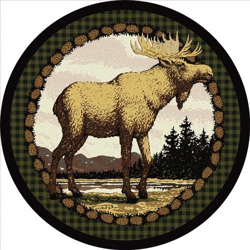beautiful bull moose pictured on a round rug with forest and mountains in background.