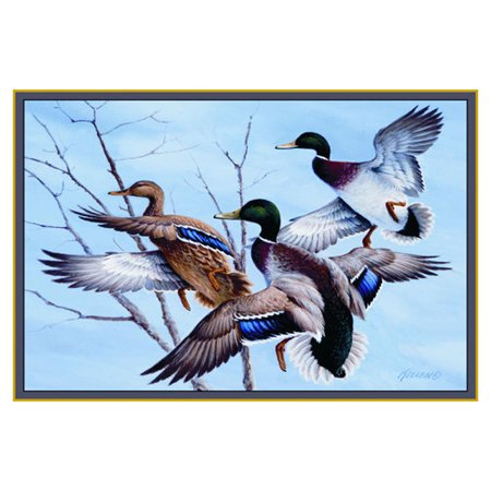 rug picturing 3 colorful mallards in flight