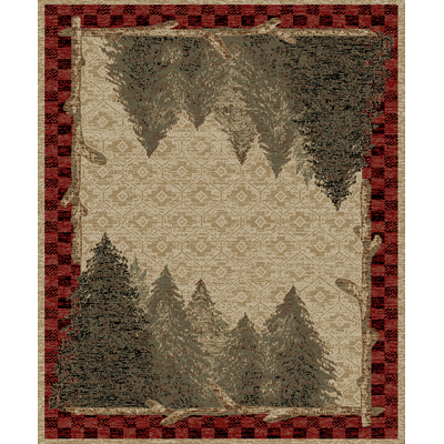 Mayberry rug with pretty pine trees