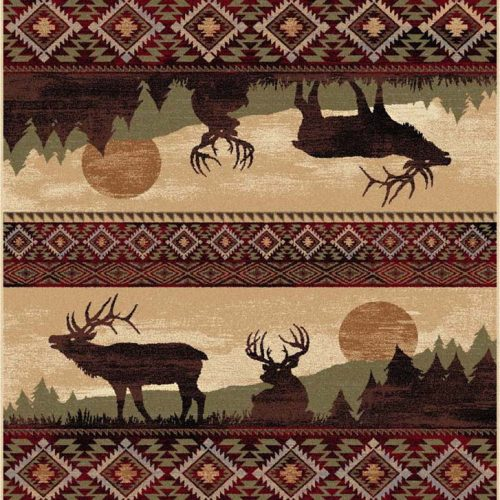 rug depicting two elk in the forest on a misty morning