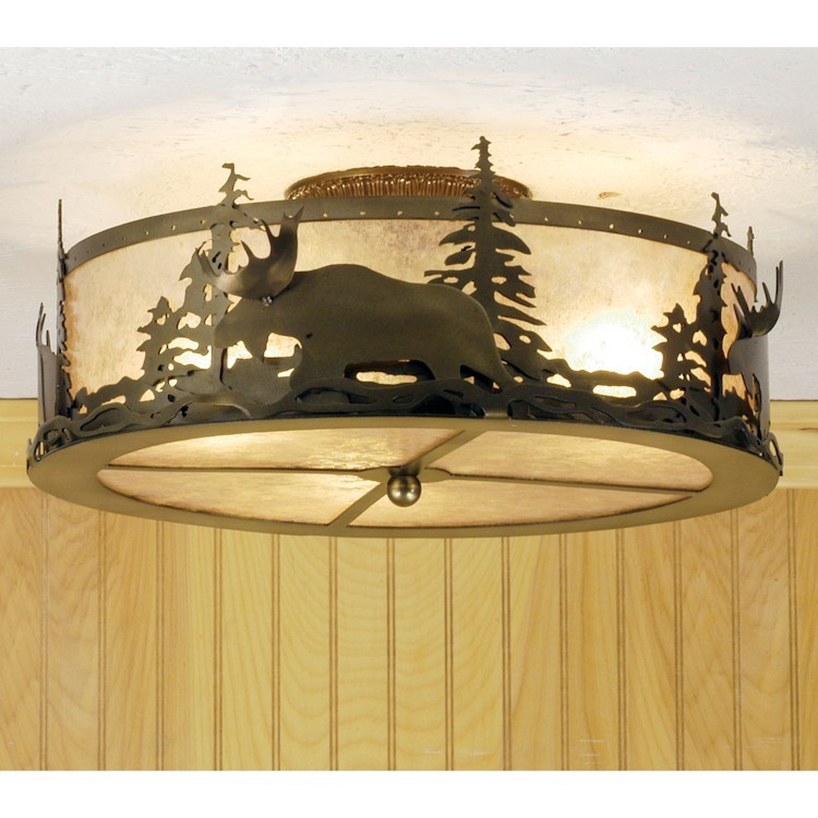 """Moose 22"""" ceiling light with moose and trees"""