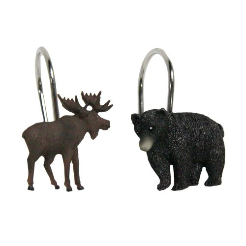 resin shower curtain hooks in shape of moose and bears