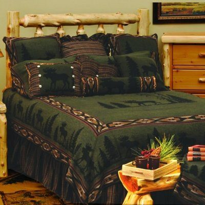 Olive green moose theme bedding with brown trim and moose in center
