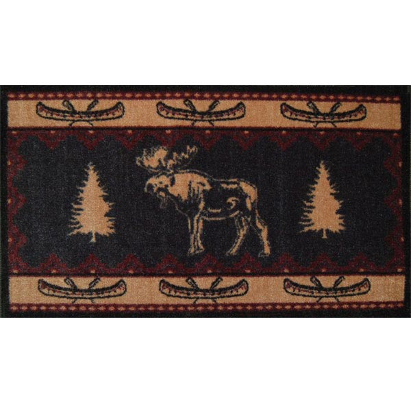 rug featuring a moose, pine trees and canoe border