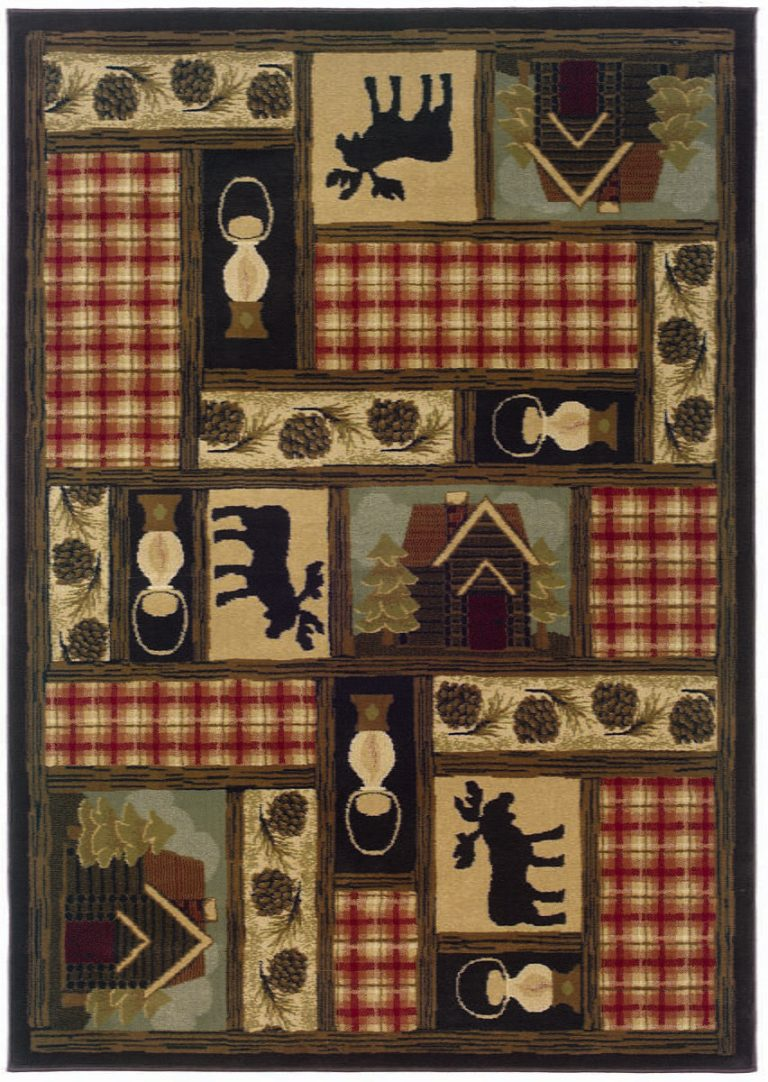 rug with rustic images including moose, cabin, lantern and pine cones