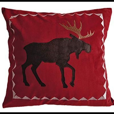 Red pillow with brown faux leather moose, pretty decor for log homes
