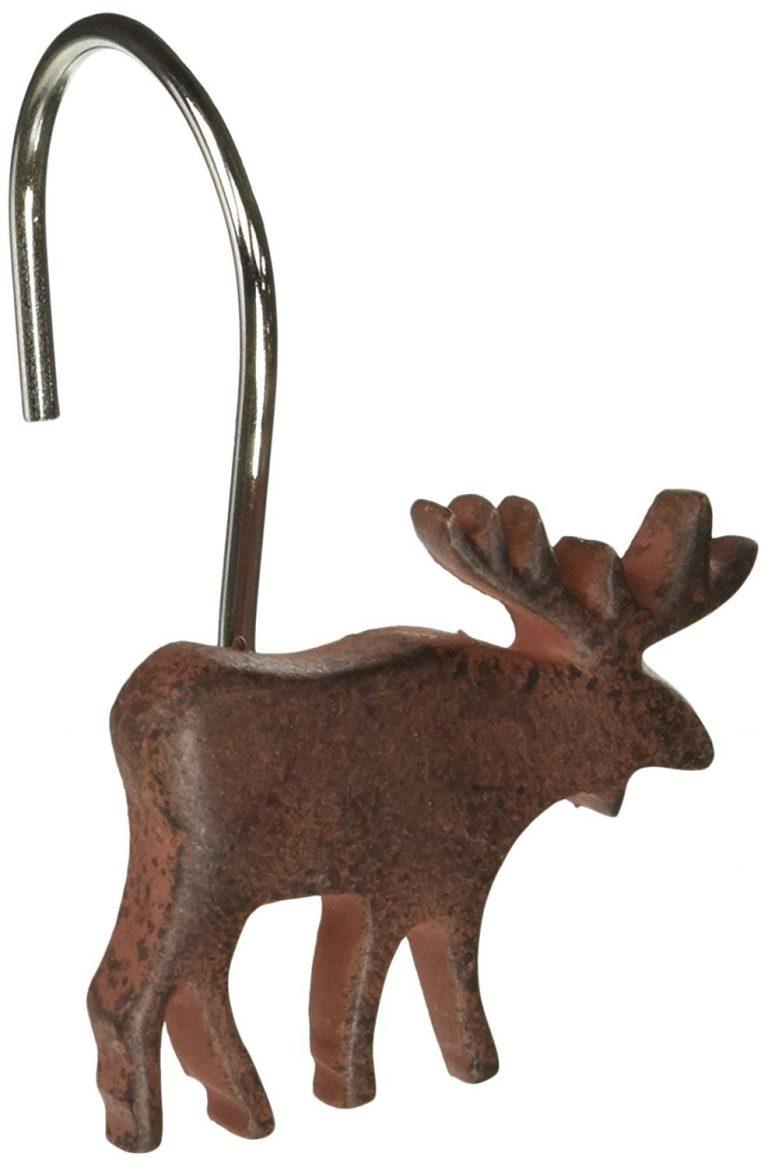 brown moose silhouette shower curtain hook