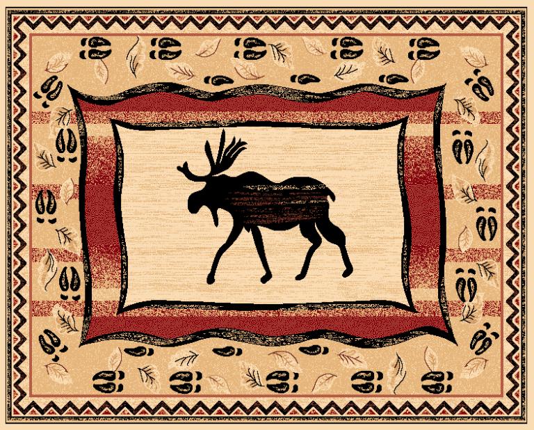 moose on rug with moose tracks border