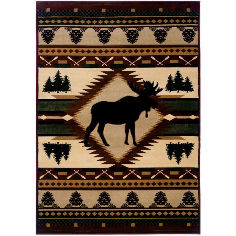 rug with rustic moose, evergreen forests, pine cones and bands of geometric designs.