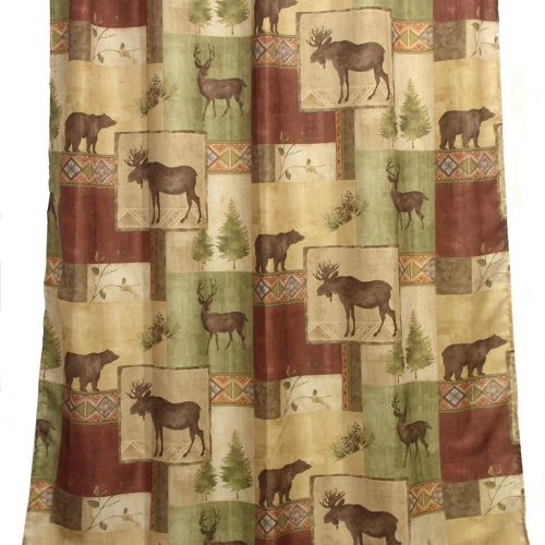 moose, elk, bears, pine cones and trees on a shower curtain