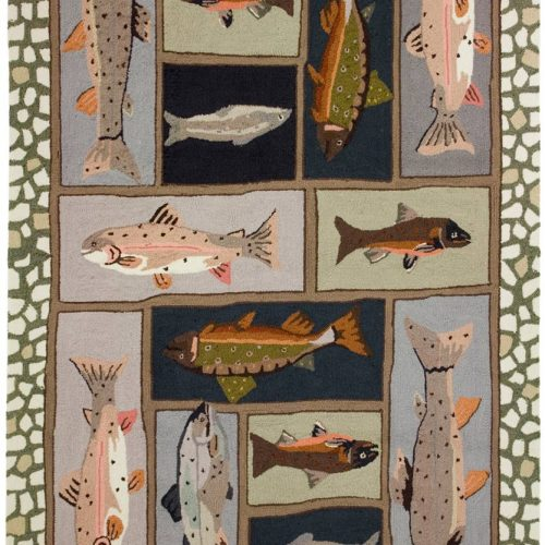 colorful rug with a beautiful variety of trout