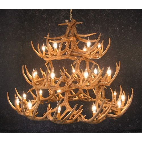 Mule deer 12 light chandelier