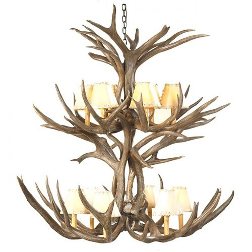 Mule deer double tier chandelier