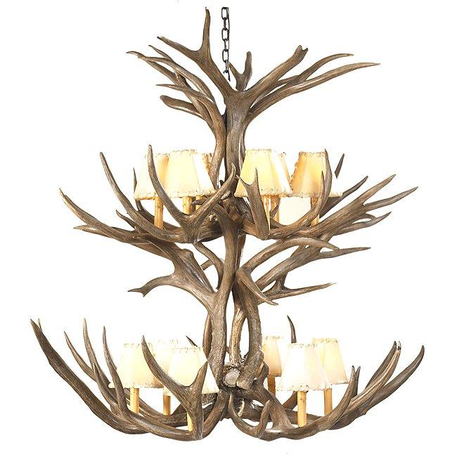 Mule deer double tier chandelier