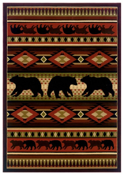 rug featuring bears with Native American theme in bold desert colors