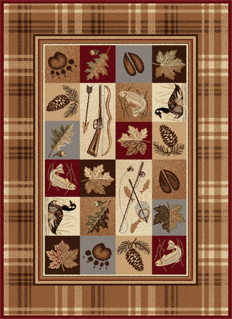 montage of outdoor and sportsman images on a beige and brown plaid rug