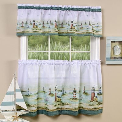 White tier curtains with valance and pastel seaside scene