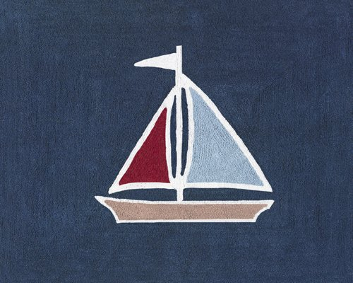 colorful sailboat on a navy blue background rug