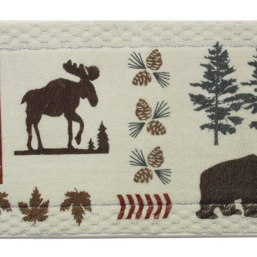 moose, bear, pinecones pine trees on white rug