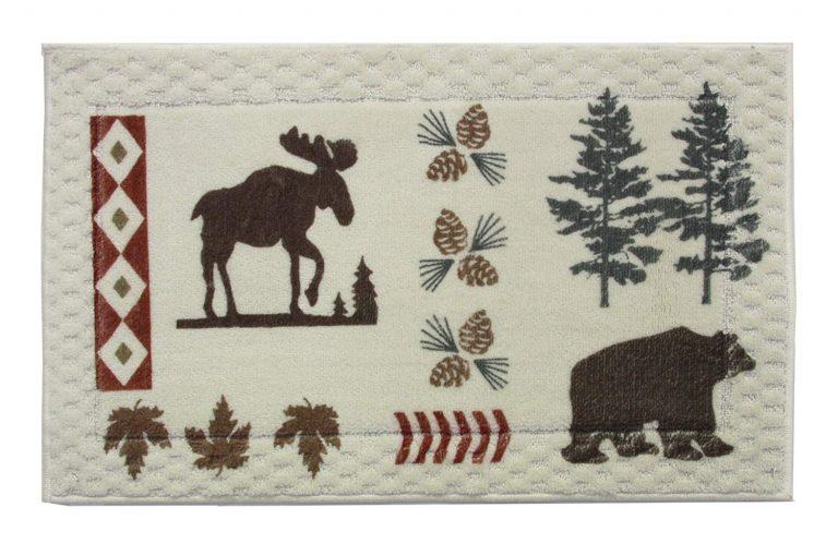 moose, bear, pinecones pine trees on white rug