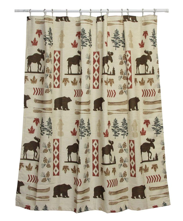 popular north woods images are scattered across a neutral beige shower curtain